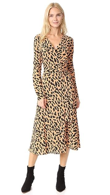 Diane von Furstenberg L / S 梭织裹身连衣裙