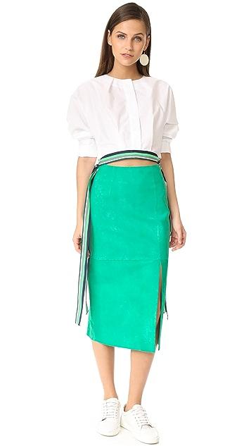 Diane von Furstenberg 侧开衩绒面革半身裙