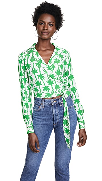 Diane von Furstenberg 深 V 领裹身女式衬衫