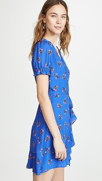 Diane von Furstenberg 短袖荷叶边裹身连衣裙