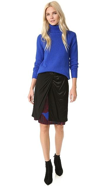 DKNY 前结饰混合材质半身裙