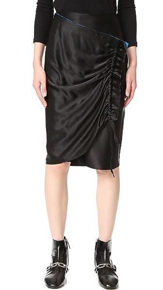 DKNY 撞色饰边裹身式半身裙