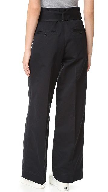 DKNY PURE DKNY 腰带阔腿裤子