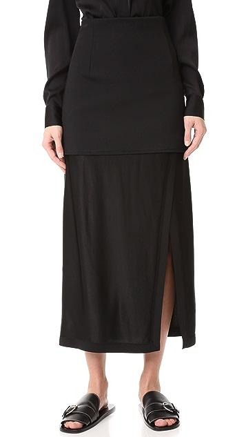 DKNY 开衩和拼接面料中长半身裙