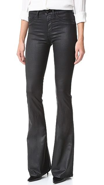 DL1961 混色高腰喇叭牛仔裤