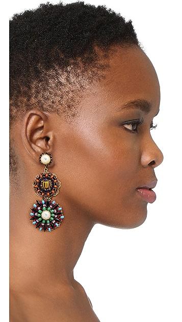 Erickson Beamon 人造珍珠豹纹绿圆片耳环