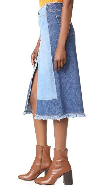 Edition10 拼色牛仔布半身裙