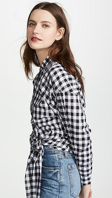 Edition10 格子绑带腰身衬衫
