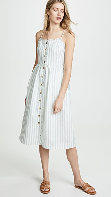 ENGLISH FACTORY 扇形饰边中长连衣裙