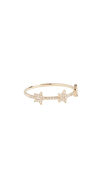 EF Collection 14K 金钻石三个星星饰物戒指