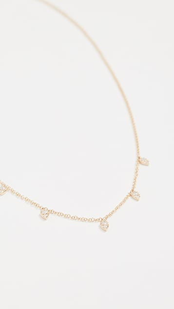 EF Collection 14K 金多色泪滴钻石项链