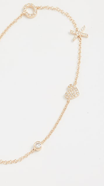 EF Collection 14K 金 V 字形钻石坠饰手链