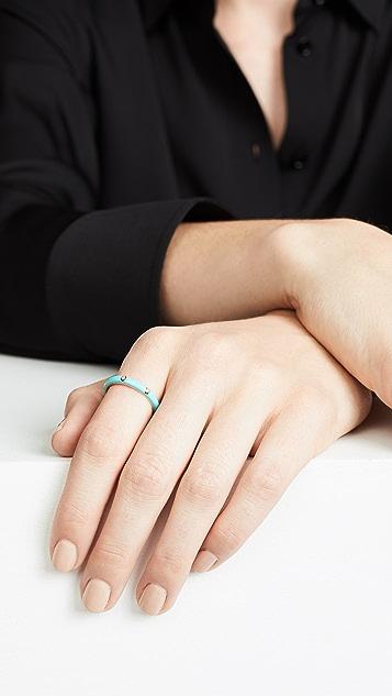 EF Collection 14K 三颗钻石珐琅叠戒