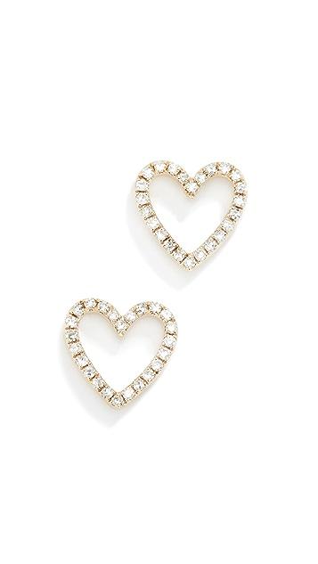 EF Collection 14K 钻石镂空心形耳钉