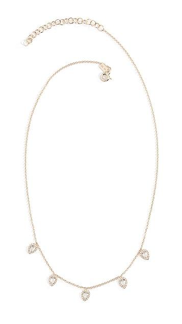 EF Collection 14K 钻石白色黄晶石多色泪滴形项链