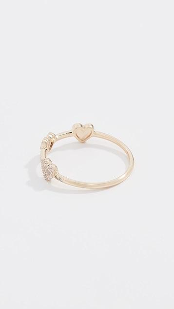 EF Collection 14k 钻石三重迷你心形叠戒