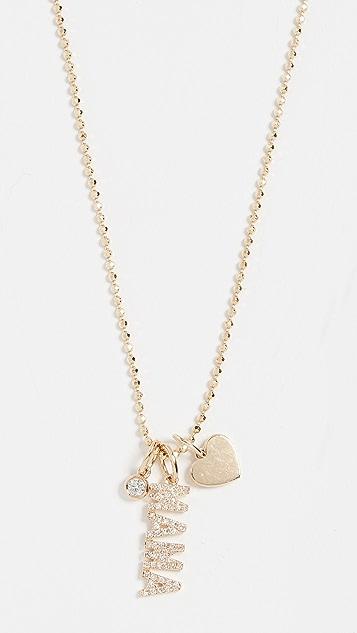 EF Collection 14k 钻石 Mama 吊坠项链