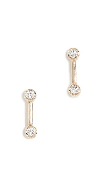 EF Collection 14K 钻石包镶金条耳钉