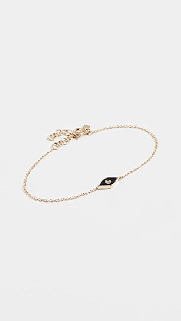 EF Collection 14k 钻石和珐琅魔眼链式手链