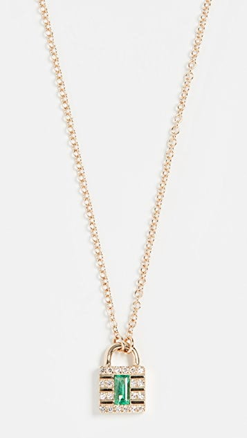 EF Collection 14K 迷你钻石锁扣项链
