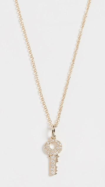 EF Collection 14K 迷你钻石钥匙项链