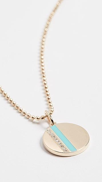 EF Collection 14K 迷你钻石圆片珐琅条纹项链
