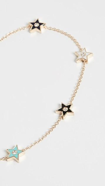 EF Collection 14k 5 钻和珐琅星星链式手链