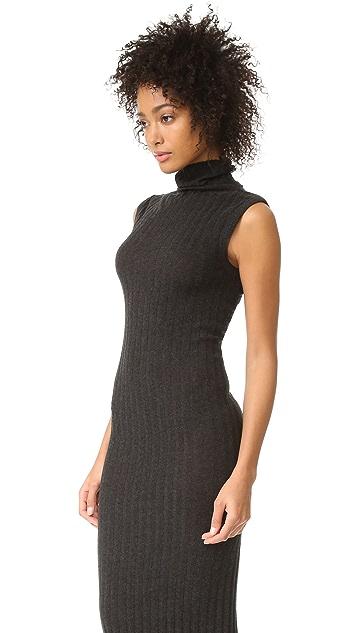 Enza Costa 罗纹设计无袖高领中长连衣裙