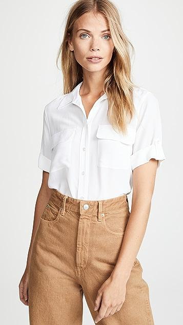 Equipment 短袖修身标志性女式衬衫
