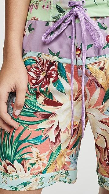 Farm Rio 混合花朵印花沙滩短裤