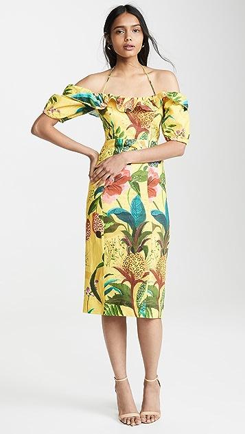 Farm Rio Golden Jungle 亚麻中长连衣裙