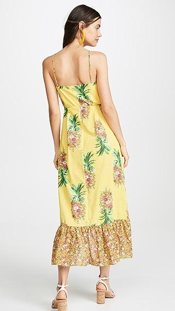 Farm Rio 金色菠萝印花裹身连衣裙