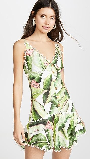 Farm Rio 白色棕榈迷你连衣裙