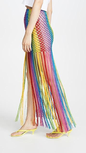 Farm Rio 彩虹镂空织花半身裙