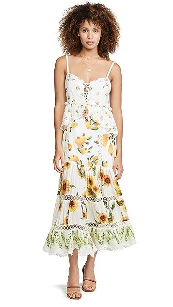 Farm Rio 向日葵混合印花连衣裙