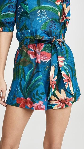 Farm Rio 蓝色丛林纸包式短裤