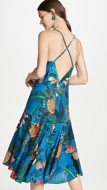 Farm Rio 蓝色丛林抹胸连衣裙