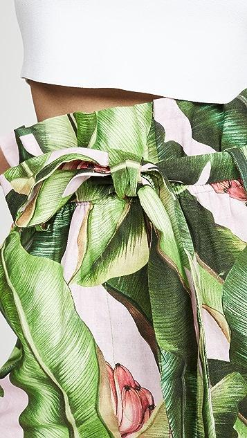 Farm Rio 粉色棕榈纸包短裤