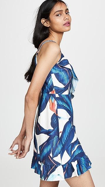 Farm Rio 蓝色棕榈树迷你裹身式连衣裙