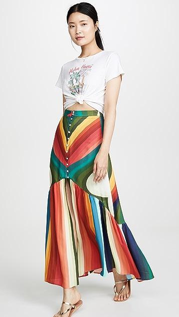 Farm Rio 彩虹条纹半身长裙