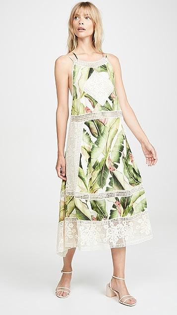 Farm Rio 白色棕榈中长连衣裙