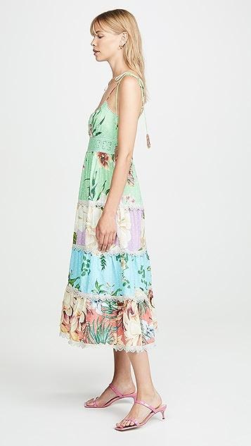 Farm Rio 混合花朵中长连衣裙