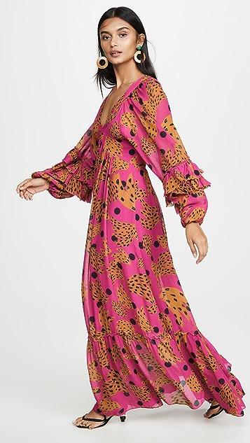 Farm Rio 粉色橡胶长连衣裙
