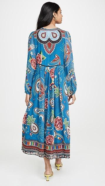 Farm Rio 神秘蓝色中长连衣裙