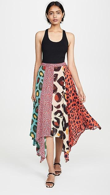Farm Rio 混合豹纹半身裙