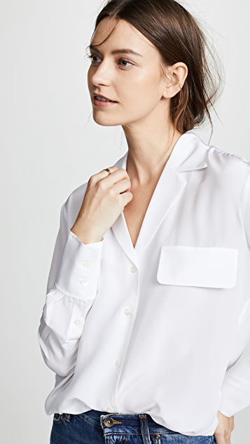FRAME 带兜真丝女式衬衫