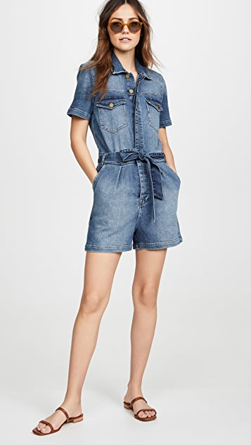 FRAME 裥褶背带短裤