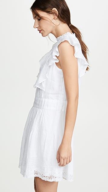 FRAME 蕾丝细褶连衣裙