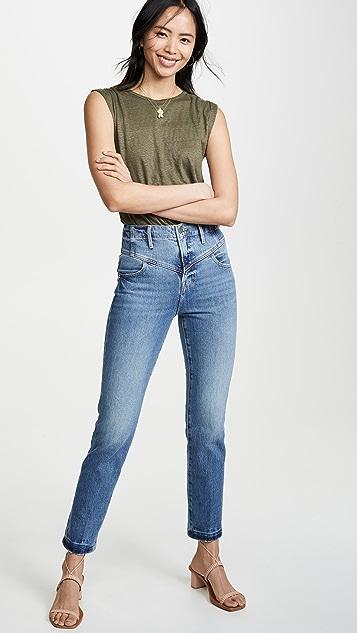 FRAME 复古 V 形抵腰直脚牛仔裤