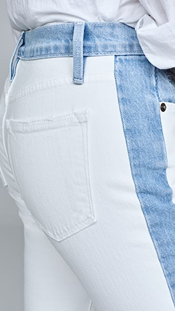 FRAME Le High 靛蓝撞色直脚牛仔裤